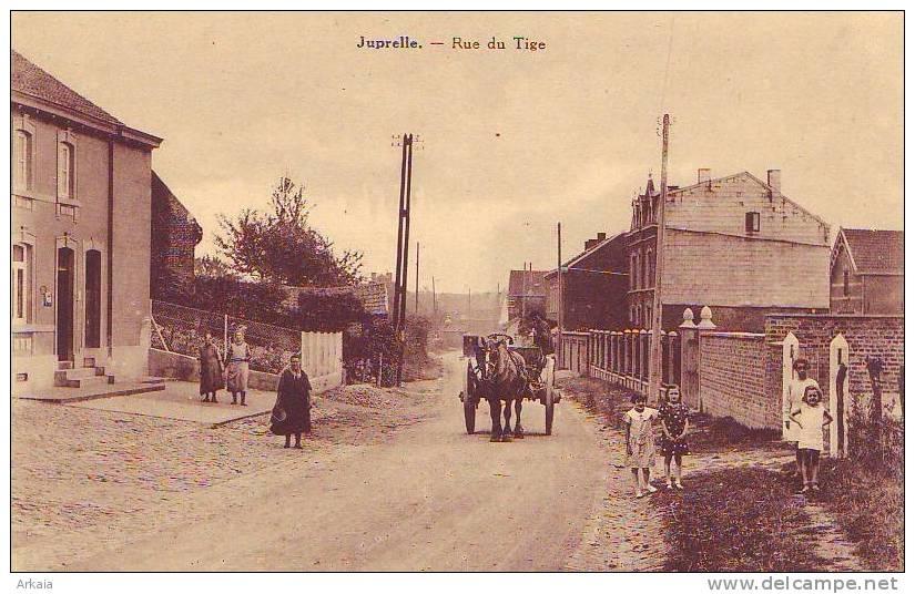 JUPRELLE = Top Cp = Rue Du Tige + Attelage - Carte Animée (Dethise) Vierge - Juprelle