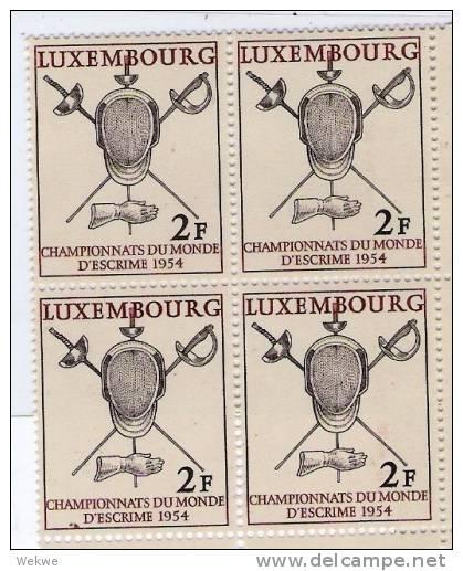 Spez111/ Luxemburg,   Mi.523, 1954 Fechtmeisterschaft  (Championship)**. Eckrandblock Unten Rechts - Luxemburg
