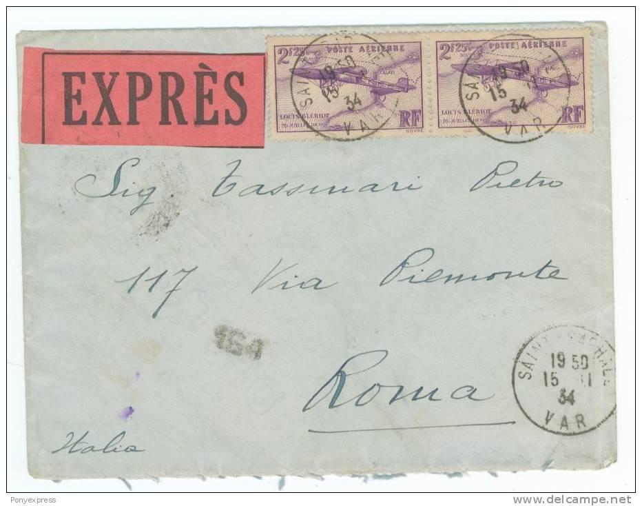 P.A. N° 7 (Blériot) En Paire Sur Lettre En Express Pour Rome 1934 - Airmail