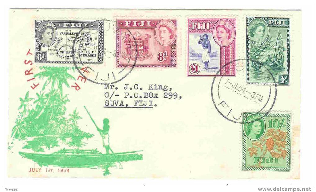 Fiji-1954 QE II Definitives (First July )  FDC - Fiji (1970-...)