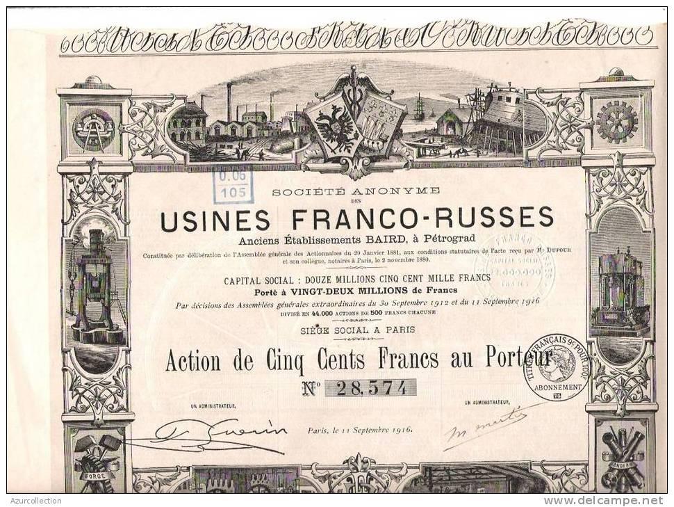 USINES FRANCO RUSSES .PETROGRAD - Russie