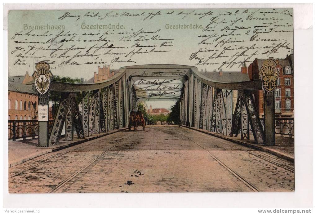 - Alte Ansichtskarte - Bremerhaven , Geestemünde, Geestebrücke, Bridge - Bremerhaven