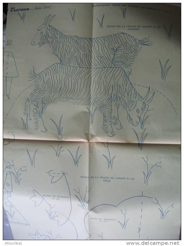 LOISIRS CREATIFS PATRONS  MODES & TRAVAUX DECEMBRE 1957  NAPPE BLOUSE SERVIETTE ET DIVERS VOIR SCANNS - Non Classés