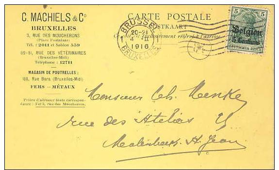German Occ. Of Belgium; Card 1916 - Occupation 1914-18