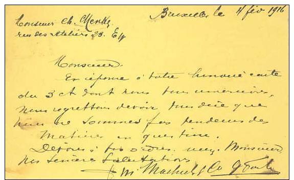 German Occ. Of Belgium; Card 1916 - Ocupación 1914 – 18