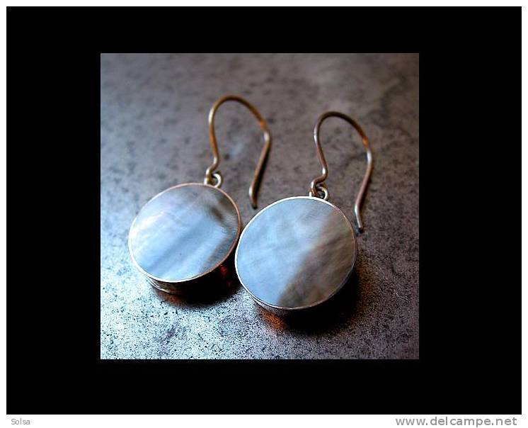 Très Jolies Boucles D'oreille Argent Et Nacre Neuves / Great Silver Moon Earings - Earrings