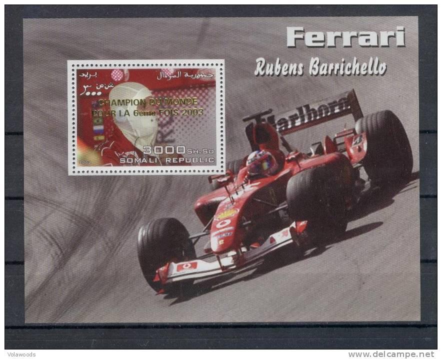 Somalia - Foglietto Nuovo Sovrastampato Oro Per La 6° Vittoria Ferrari In F1 - Barrichello - Somalia (1960-...)