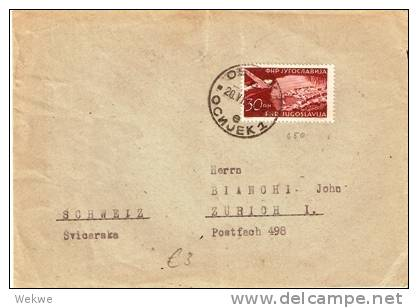 YU046 /  JUGOSLAWIEN - Luftpost 1954 Flugzeug über Ragusa(Dubrovnik) - Covers & Documents
