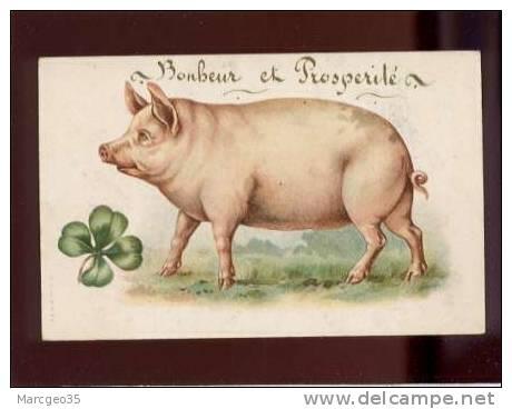 25003 Bonheur & Prospérité Beau Cochon & Trèfle à 4 Feuilles édit.A & MB N° 205 Belle Carte - Cochons