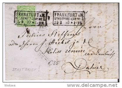 Ndp075/ NORDDEUTSCHER-POSTBEZIRK -  Frankfurt 3-Zeiler Im Kasten 1870. Stadtbrief 1 Kreuzer, Mi. 19 - Norddeutscher Postbezirk
