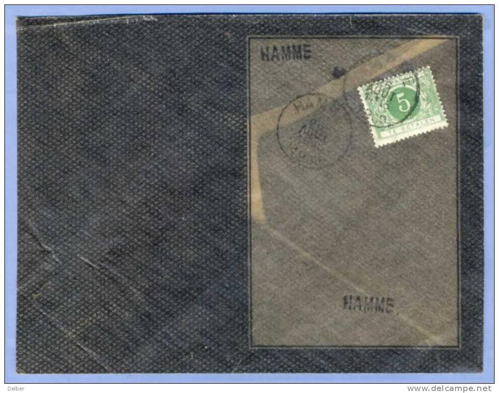 Ll200: Ttx N°3 : HAMME 26 Aout 1909:Bijzonder Omslag Uitgegeven : Waar Alleen Adres Zichtbaar Is:OS:N°74 6.8.09 - Taxes