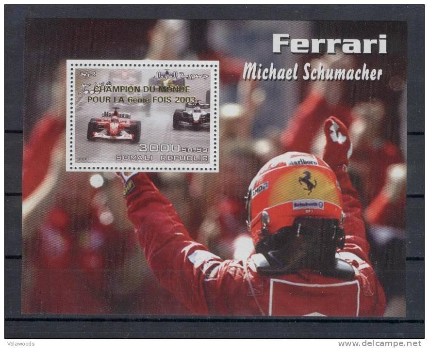 Somalia - Foglietto Nuovo Sovrastampato Oro Per La 6° Vittoria Ferrari In F1 - Schumacher - Cars