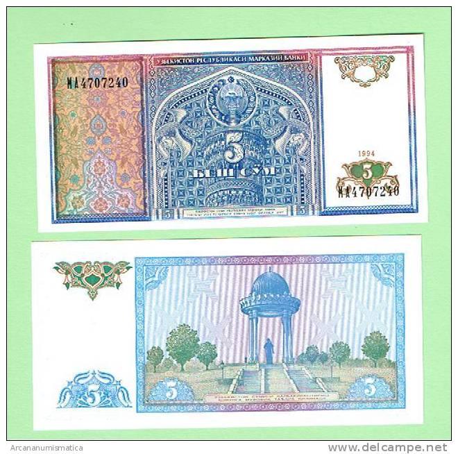 UZBEQUISTAN   UZBEKISTAN  5 SUM  1994  KM#75   PLANCHA/UNC/SC   DL-2657 - Uzbekistán