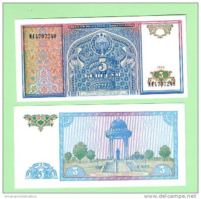 UZBEQUISTAN   UZBEKISTAN  5 SUM  1994  KM#75   PLANCHA/UNC/SC   DL-2658 - Uzbekistán