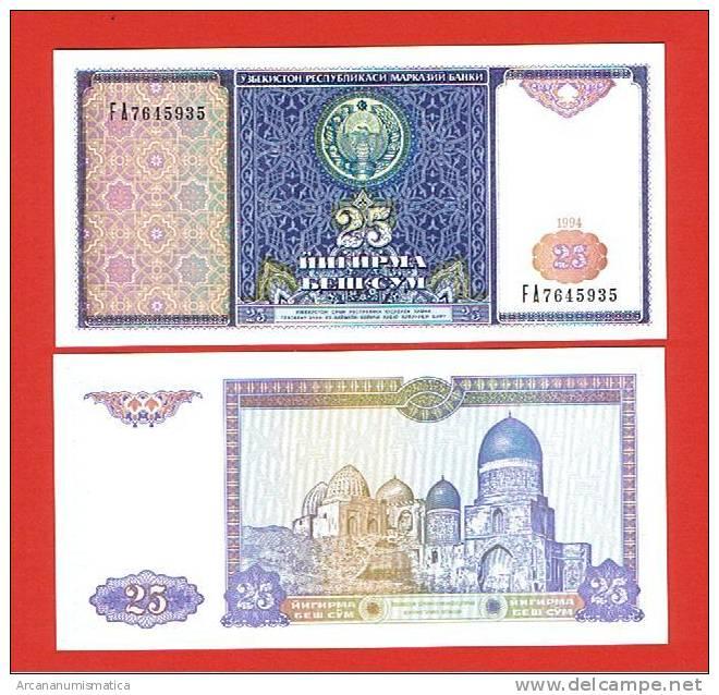 UZBEQUISTAN   UZBEKISTAN  25 SUM  1994  KM#77   PLANCHA/UNC/SC   DL-2662 - Uzbekistán