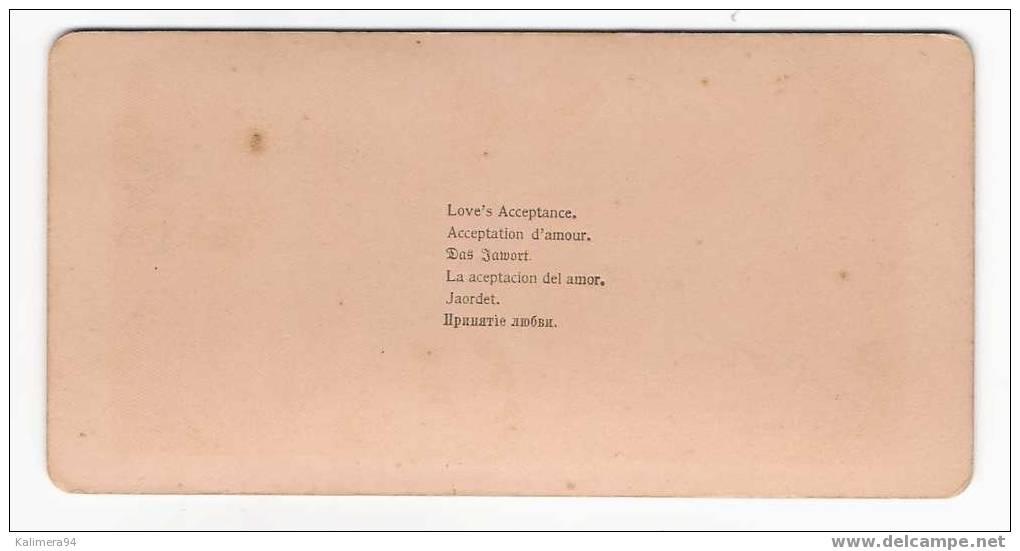 LOVE´ S  ACCEPTANCE  /  ACCEPTATION  D´ AMOUR  /  RARE  PHOTOGRAPHIE  STEREO , Par  R.Y. YOUNG  ( 1900 ) - Photos Stéréoscopiques