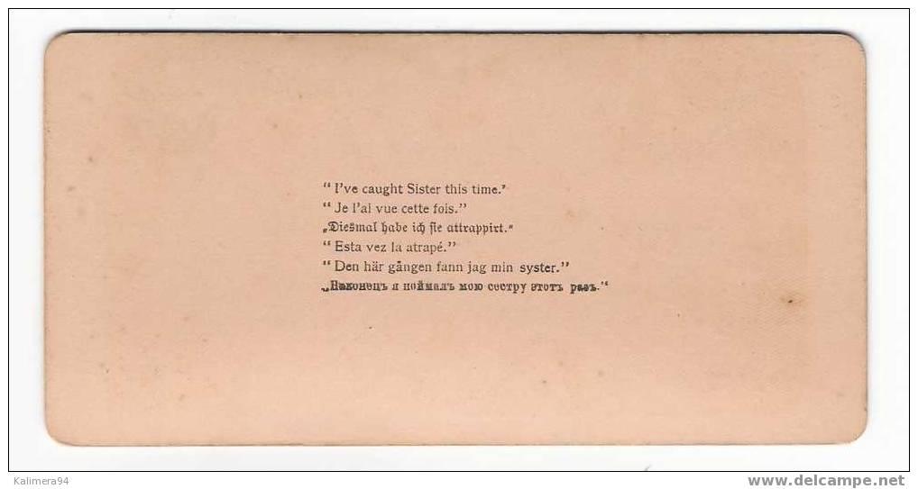 "EROTIC 1900 /  "" I  CAUGHT  SISTER  THIS  TIME. ""  /  RARE  PHOTOGRAPHIE  STEREO , Par  R.Y. YOUNG  ( 1896 ) - Photos Stéréoscopiques"