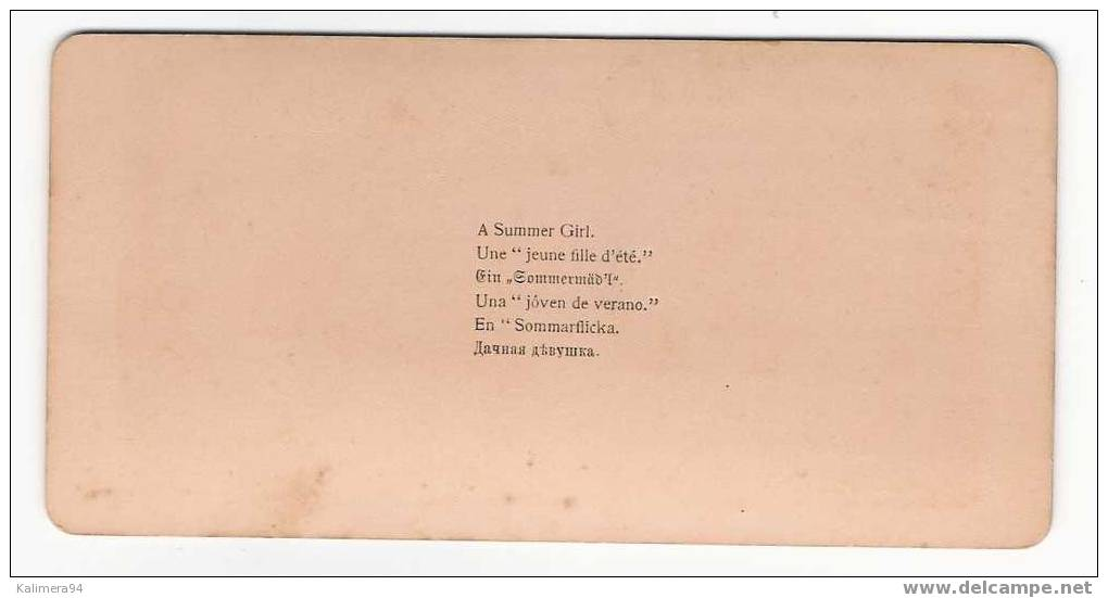 EROTIC 1900 / A  SUMMER  GIRL  /  UNE  JEUNE  FILLE  D´ ETE  /  RARE  PHOTOGRAPHIE  STEREO , Par  Edw. CLARKS  ( 1896 ) - Photos Stéréoscopiques