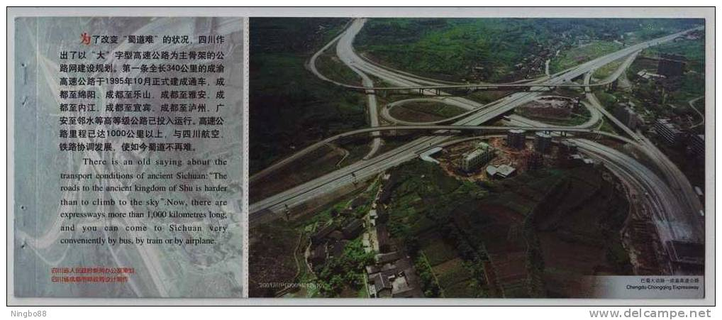 Crossroad Bridge,highway,cheng-yu Expressway,China 2001 Sichuan Traffic Construction Advertising Pre-stamped Card - Bridges