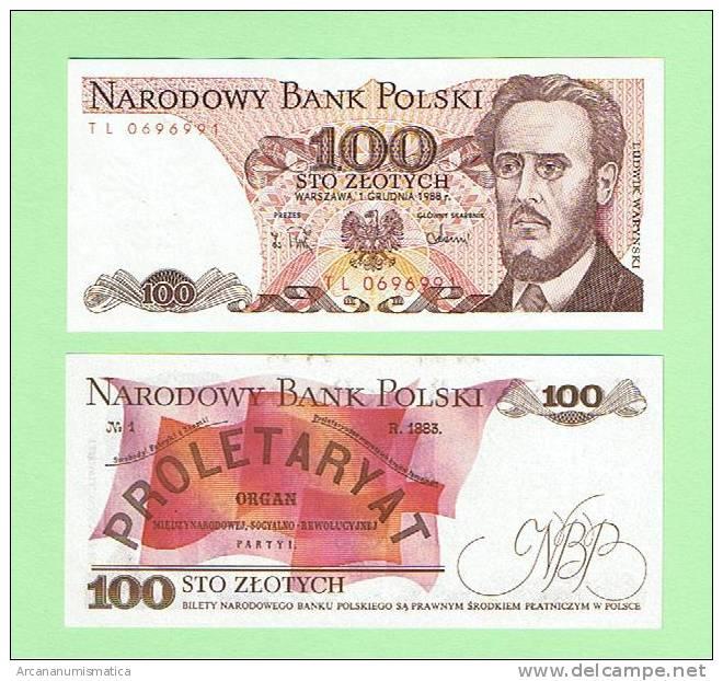 POLONIA/POLAND  100 ZLOTES  1-12-1988  KM#143  PLANCHA/SC/UNC   DL-3041 - Polonia