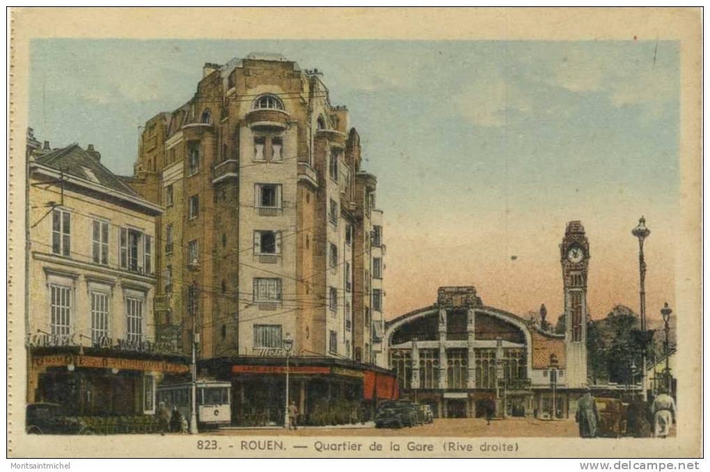 Rouen Seine-Maritime 76. Quartier De La Gare Rive Droite. Café Métropole. Tram. Café De La Gare. Vieilles Voitures. - Rouen