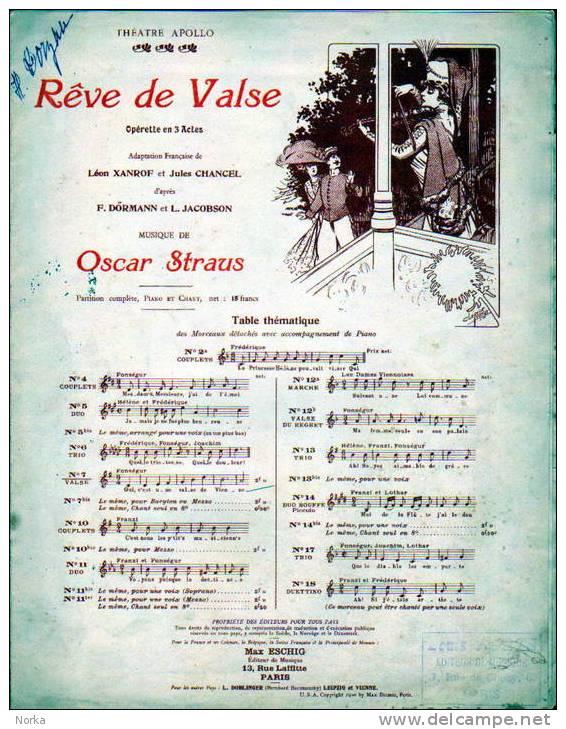 Partition: RÊVE DE VALSE. Opérette. Dessin De Clérice Frères. - Opern