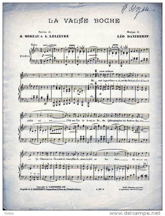 Partitions: LA VALSE BOCHE. 1915. - Opern