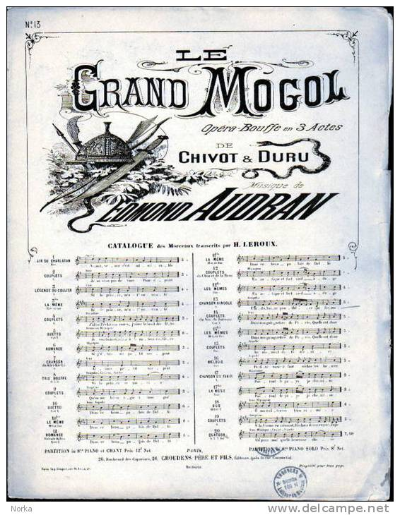 Partitions: LE GRAND MOGOL. Catalogue N° 5. - Operaboeken