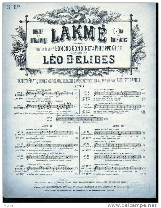 Partitions: Lakmé. Opéra. N°  Bis. - Opéra