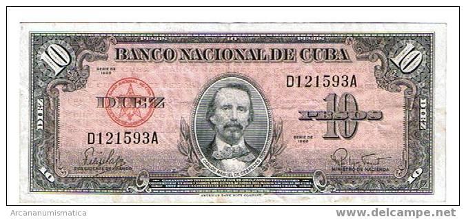 CUBA,10 PESOS 1960 K79 MBC   DL-3691 - Cuba