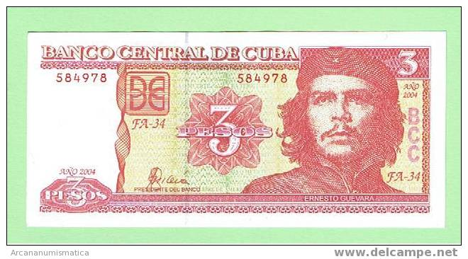 CUBA  3 PESOS  2004 PLANCHA/SC/UNC  CHE GUEVARA    DL-3792 - Cuba