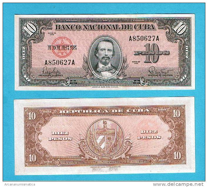 CUBA   10  PESOS  1960  KM#79 SC/UNC       DL-3953 - Cuba