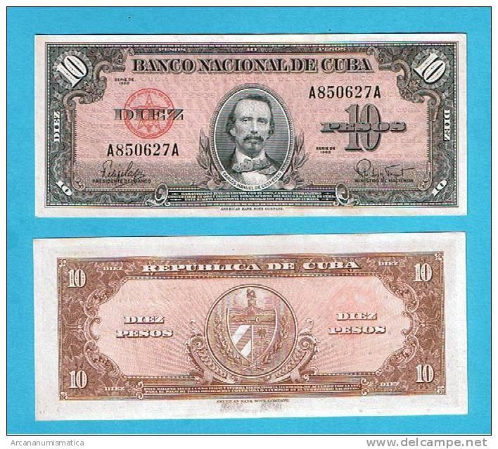 CUBA   10  PESOS  1960  KM#79 SC/UNC       DL-3968 - Cuba