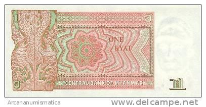 BIRMANIA/MYANMAR  1 KYAT 1990  KM#67  PLANCHA/UNC   DL-4429 - Myanmar