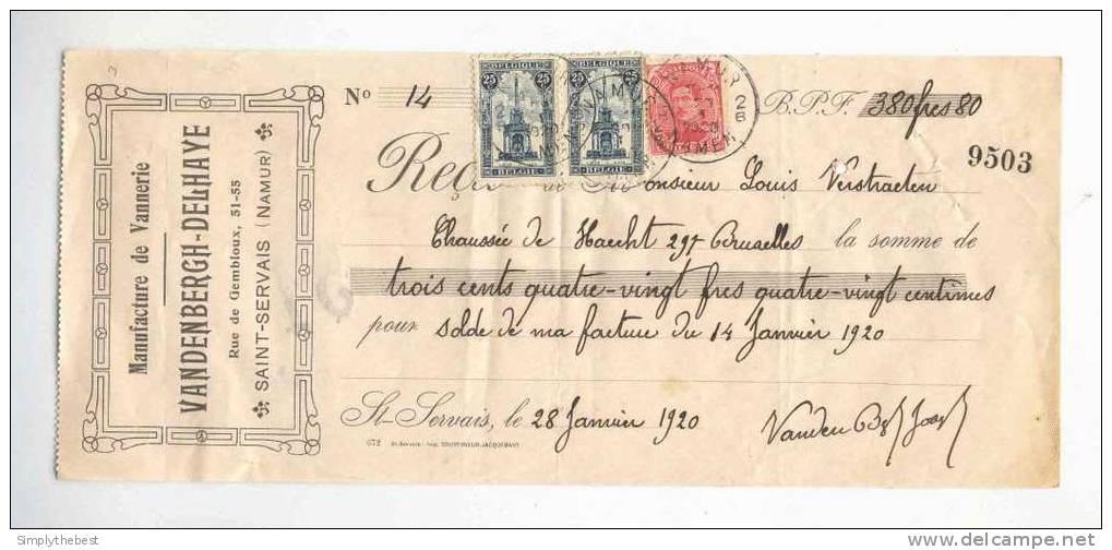 Reçu TP Perron 25 C X 2 + Albert 10 C NAMUR 1920 -  Entete Vannerie Vandenbergh - Delhaye à SAINT SERVAIS  --  GG812 - 1915-1920 Albert I