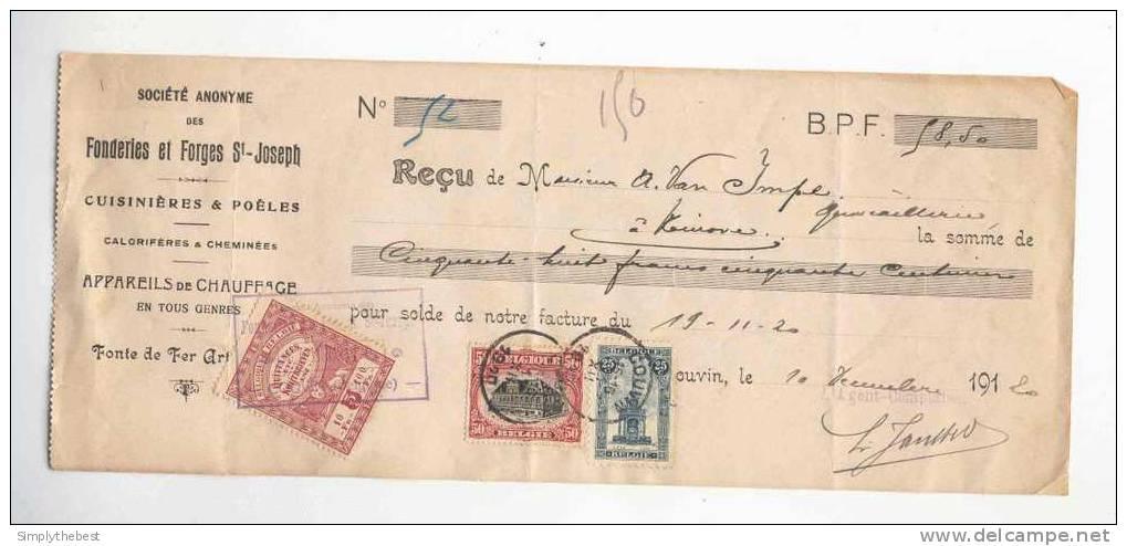 Reçu TP Perron 25 C + TP 50 C COUVIN 1920 -  Entete Fonderies ST Joseph Et Cachet Sur Fiscal 5 C  --  GG813 - 1915-1920 Albert I