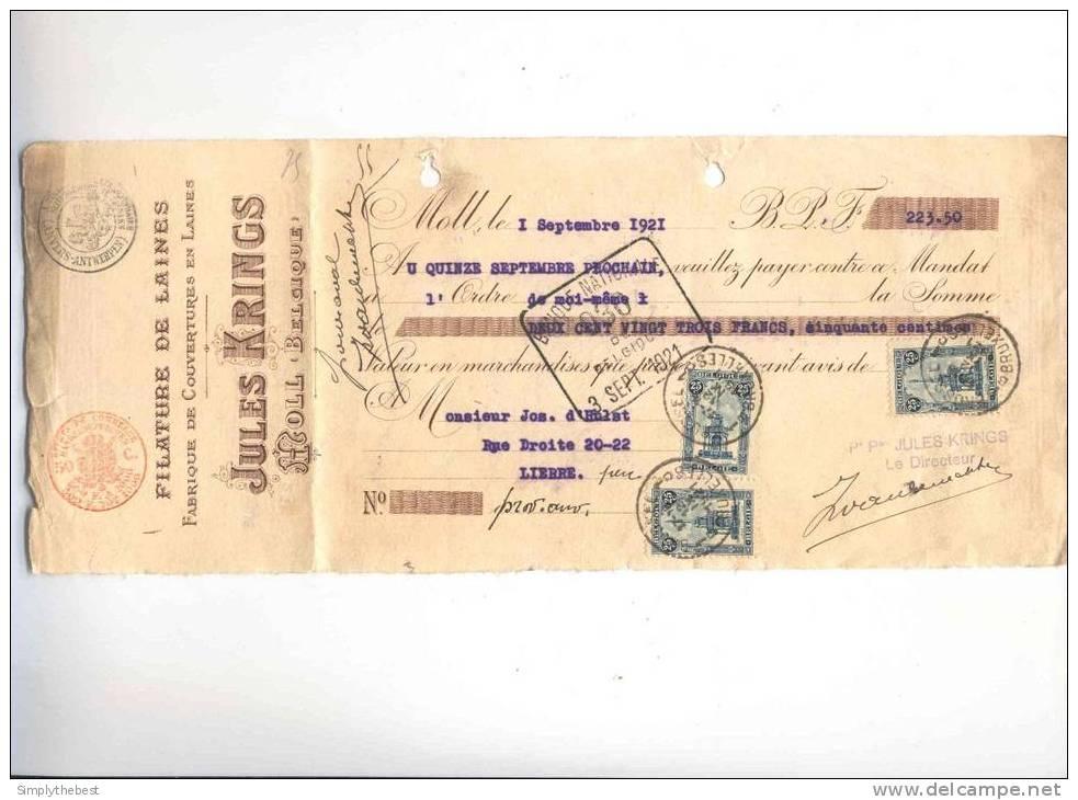 Mandat Fiscal 50 C Et TP Perron 25 C X 3 BXL 1921 -  Entete Filature De Laines Krings à MOLL  --  GG814 - 1915-1920 Alberto I