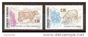 SERIE TIMBRES 2 NOUVEAUX L'ANDORRE - LA POSTE FRANCAISE 1991 - NATURA VACHE AGNEAU - Sellos