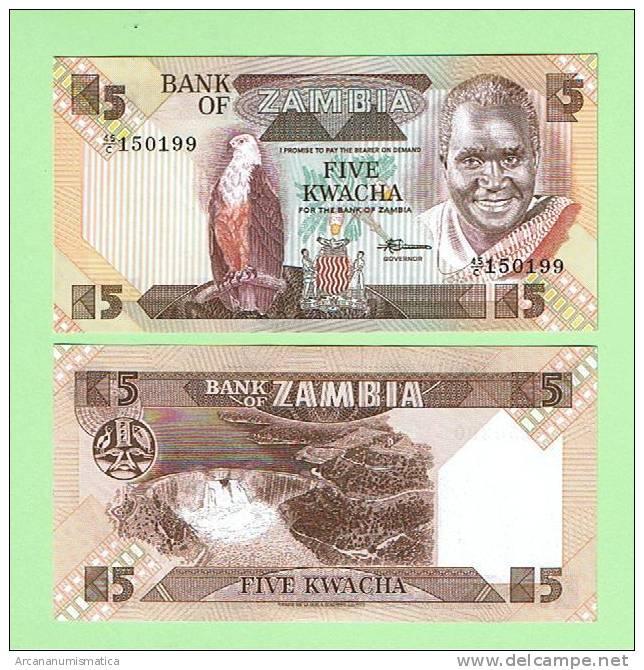 ZAMBIA  5  KWACHA  ND (1.980-88)    KM#25     PLANCHA/UNC  (BT)   DL-5096 - Zambie