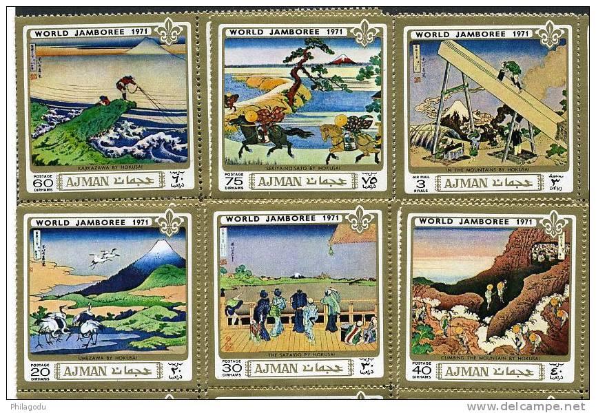 AJMAN 1971 ++  Celèbre Peintures Classiques JAPON   SCOUTS   Michel 933/938  Cote 16,80 E En 2001 - Künste