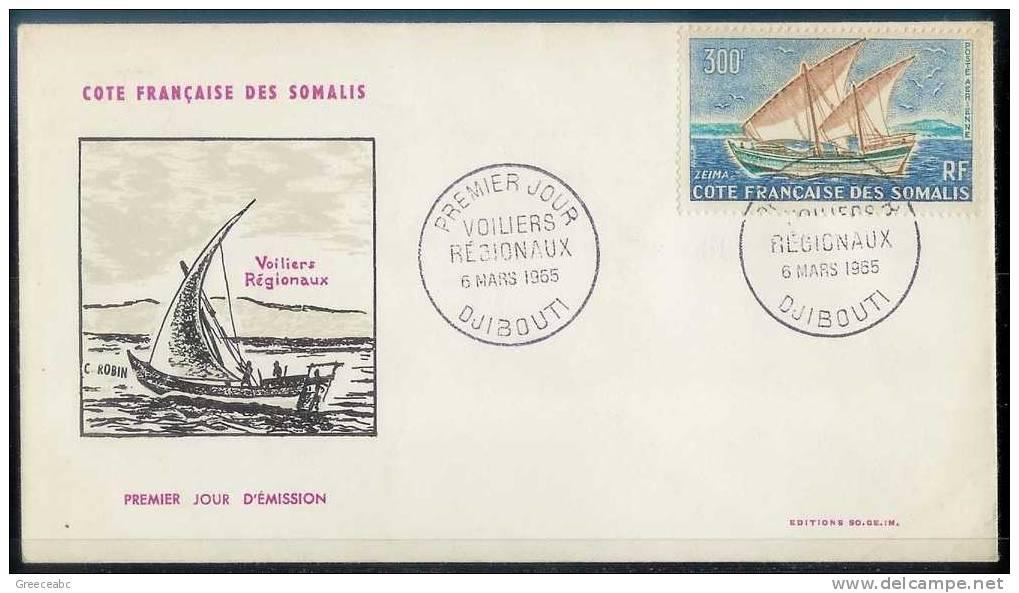 Franch Somali Coast 1965 > Mi 364 - Sailing Ships - FDC - French Somali Coast (1894-1967)