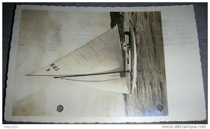 Boat,Ships,Glider,Brig,Original Photo,vintage Postcard - Segelboote