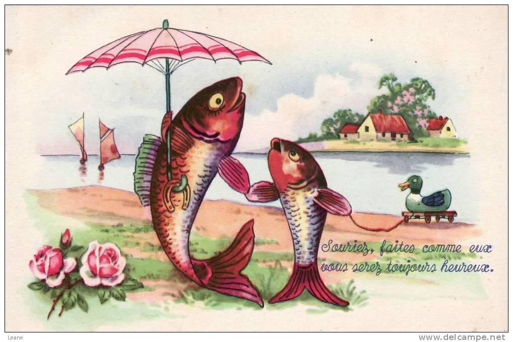 Fête - 1er Avril - Poisson - Parapluie - April Fool's Day
