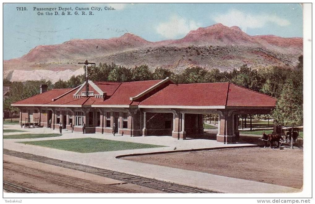 Colorado  -  Canon City  -  Passenger Depot On The D. & R. G. R. R.  -  Railway  -  1913 - Etats-Unis