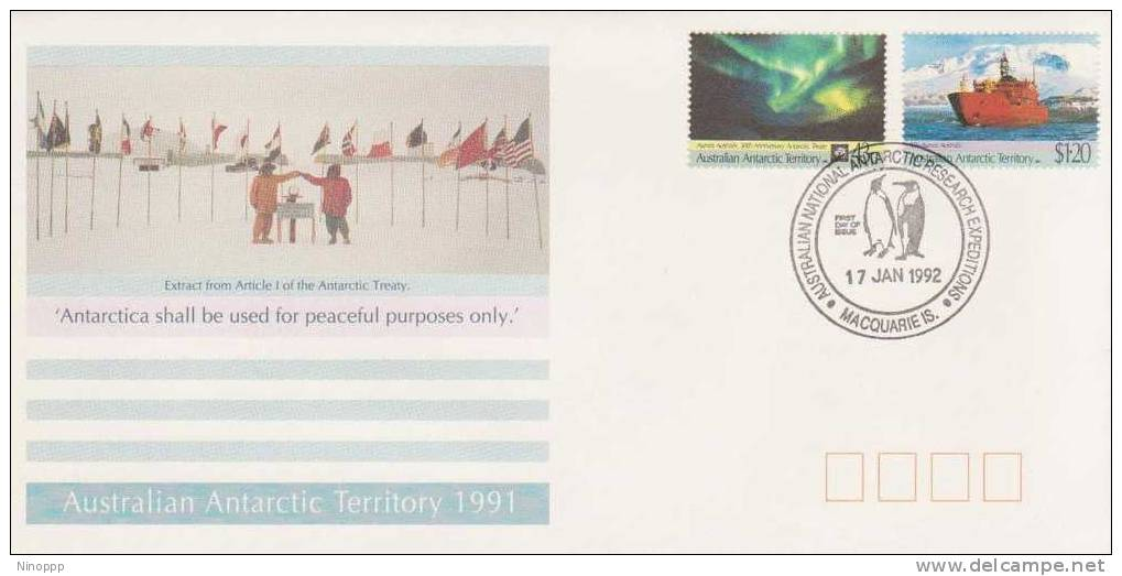 Australian Antartic-1992 30th Anniversary Treaty Macquarie Island Base FDC - Australian Antarctic Territory (AAT)