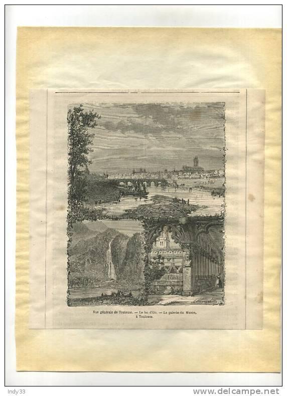 - VUES DE TOULOUSE ,  LAC D´OO ,....  GRAVURE SUR BOIS DU XIXe S. DECOUPEE ET COLLEE SUR PAPIER - Prints & Engravings