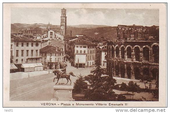 Italie - P660 - Veneto - Verona - Verone - Piazza E Monumento Vittorio Emanuele II - état - Verona