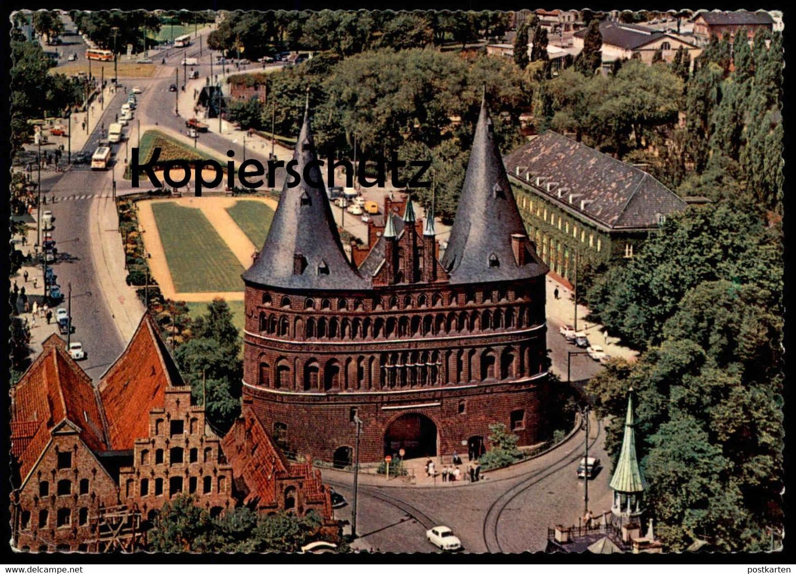 ÄLTERE POSTKARTE LÜBECK HOLSTENTOR & SALZSPEICHER TOR 1963 Gate Porte cpa postcard AK Ansichtskarte Luebeck Lubeck