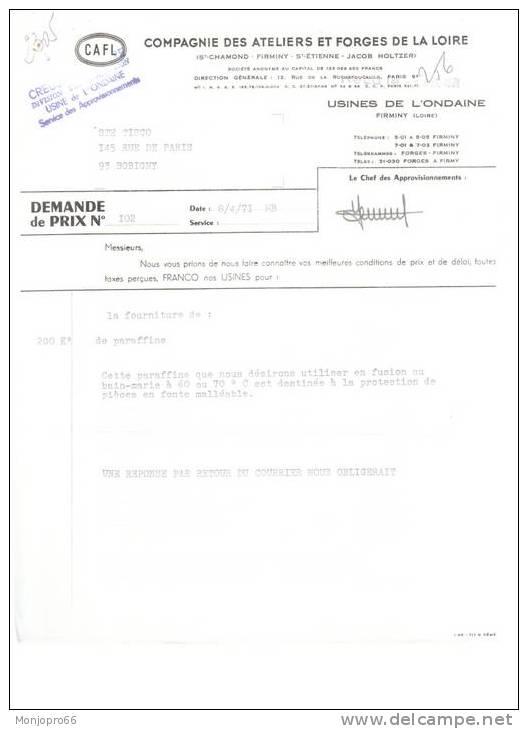 Demande De Prix De La Société CAFL (Compagnie Des Ateliers Et Forges De La Loire) De Firminy Et De 1971 - Vieux Papiers