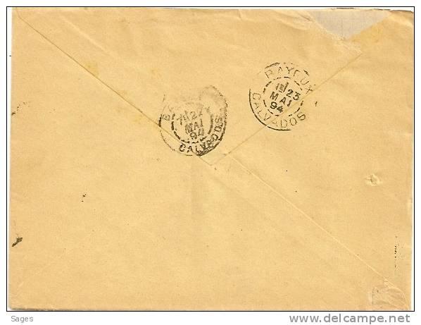 Lettre ARROMANCHES Type A  Calvados, Boite Urbaine A  Sur Sage ! Peu Commun - Marcophilie (Lettres)
